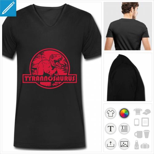 t-shirt noir dinosaure personnalisable, impression à l'unité