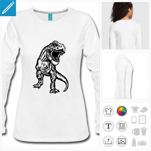 t-shirt gris dinosaure personnalisable