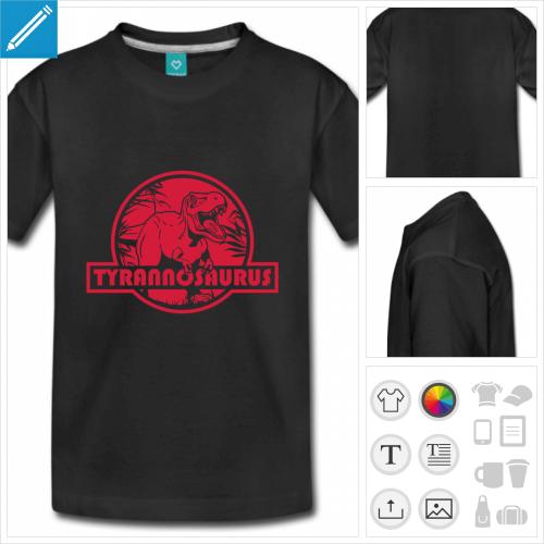 t-shirt noir T-rex à personnaliser