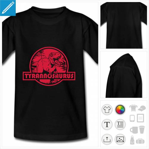 t-shirt enfant tyrannosaurus personnalisable, impression à l'unité