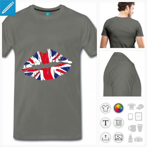 t-shirt homme i love uk personnalisable, impression à l'unité
