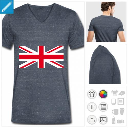 t-shirt manches courtes drapeau UK à personnaliser, impression unique