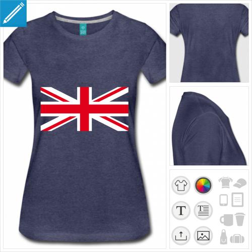 t-shirt drapeau anglais personnalisable