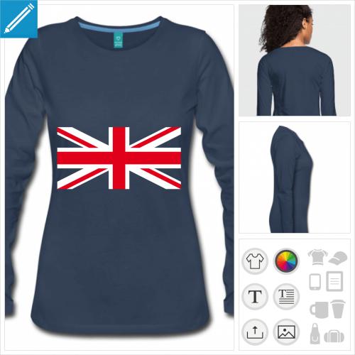 t-shirt manches longues union jack à créer en ligne