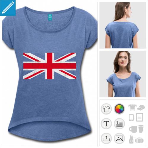 t-shirt cropped drapeau anglais vintage à personnaliser et imprimer en ligne