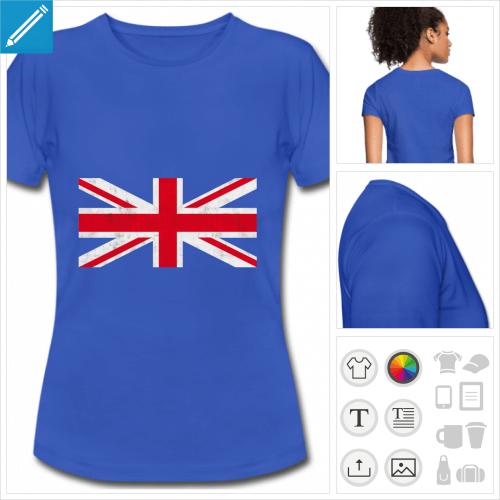 t-shirt manches courtes drapeau angleterre personnalisable, impression à l'unité