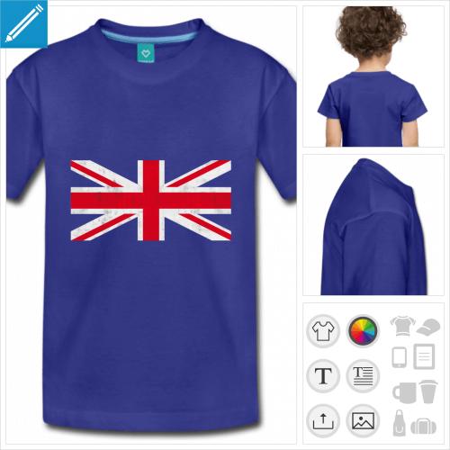 t-shirt enfant drapeau angleterre à personnaliser, impression unique