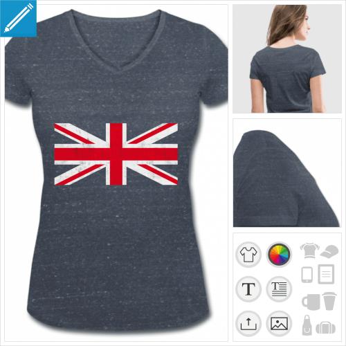 t-shirt col en v drapeau angleterre à créer soi-même