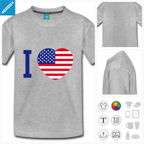 t-shirt adolescent Amérique à personnaliser