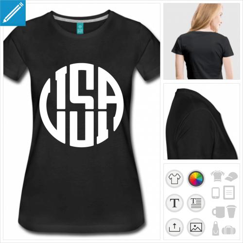 t-shirt noir amérique à créer en ligne