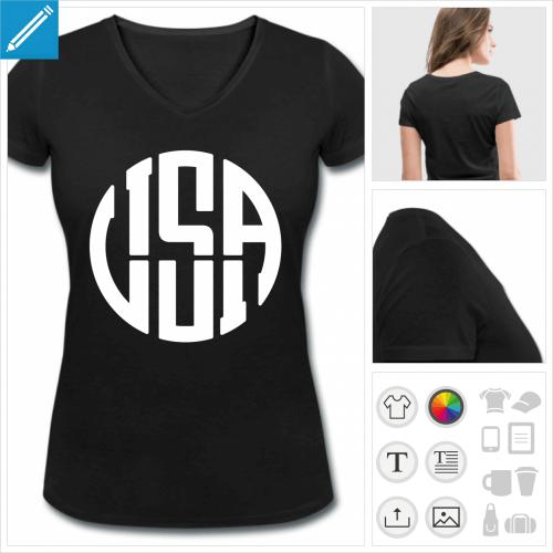 T-shirt pour femme personnalisé avec un motif USA dont les lettres forment un rond ressemblant à un idéogramme. Motif USA et typographie une couleur.