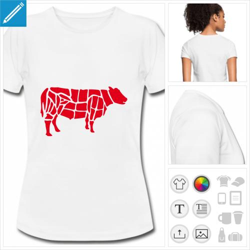t-shirt blanc vache boucher à imprimer en ligne