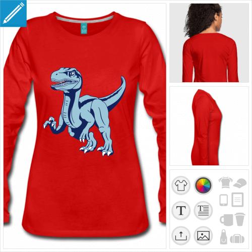 t-shirt manches longues vélociraptor à personnaliser, impression unique