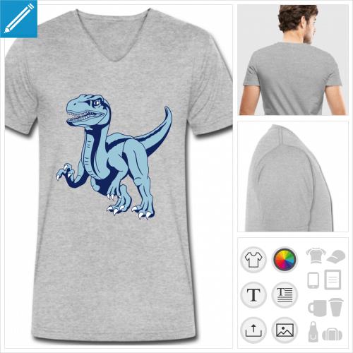 t-shirt pour homme dinosaure vélociraptor personnalisable