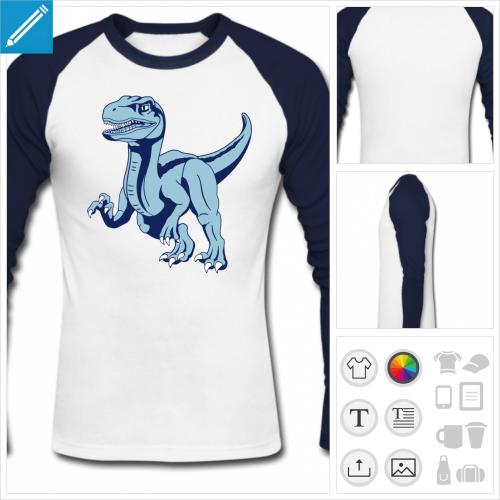 t-shirt manches longues dinosaure vélociraptor à imprimer en ligne