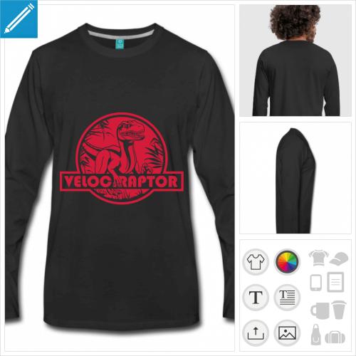 t-shirt vélociraptor à personnaliser et imprimer en ligne