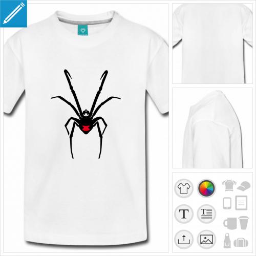 t-shirt simple araignée personnalisable, impression à l'unité
