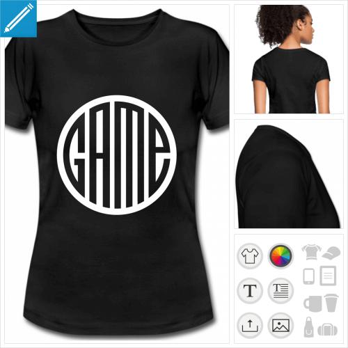 t-shirt noir basique game à personnaliser, impression unique