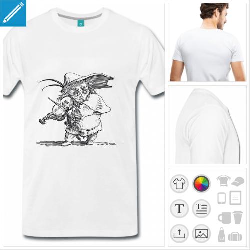 T-shirt violon, violoniste rigolo reproduit d'après gravure, à imprimer sur t-shirt.