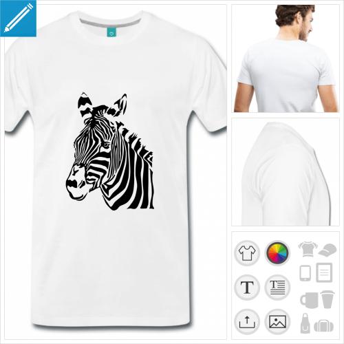 T-shirt zèbre à imprimer en ligne. Personnalisez le vous-même.