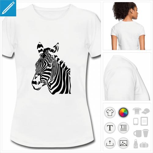 t-shirt blanc zèbre à personnaliser et imprimer en ligne
