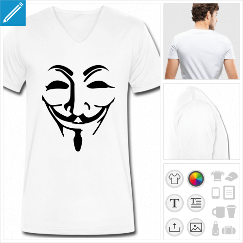 tee-shirt anonymous à personnaliser, impression unique