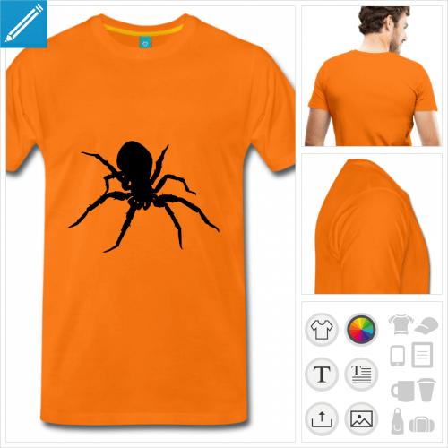 t-shirt orange homme araignée à créer en ligne