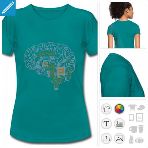 tee-shirt cerveau personnalisable, impression à l'unité