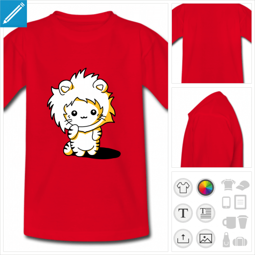 t-shirt chaton lion à personnaliser