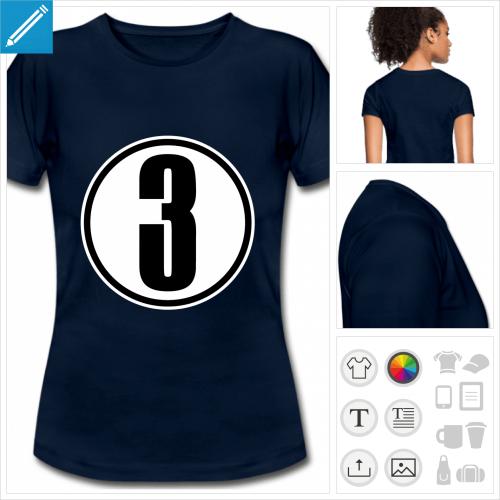 t-shirt femme Chiffre 3 à personnaliser, impression unique