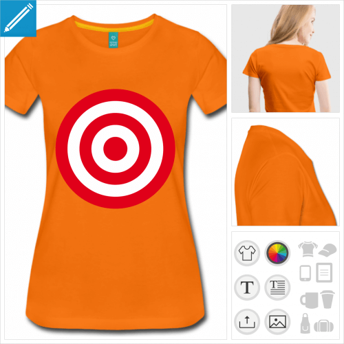 t-shirt orange cible à créer en ligne