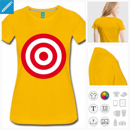 t-shirt jaune cible rouge à personnaliser et imprimer en ligne