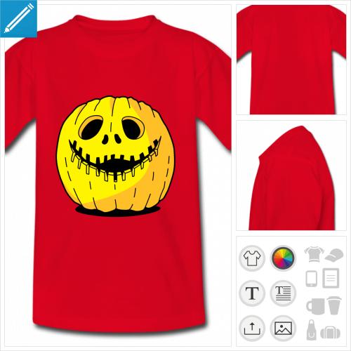 tee-shirt rouge citrouille Halloween à créer soi-même