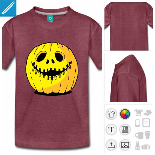 t-shirt manches courtes citrouille Halloween à imprimer en ligne