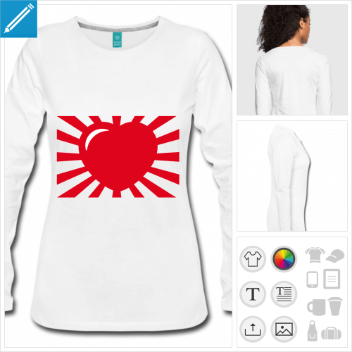 t-shirt manches longues coeur manga personnalisable