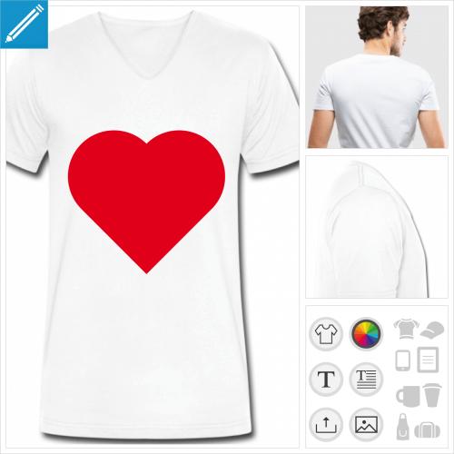 t-shirt homme i love à personnaliser et imprimer en ligne