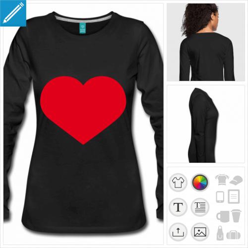 t-shirt femme I love personnalisable