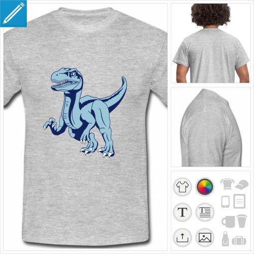 t-shirt manches courtes dinosaure vélociraptor à personnaliser et imprimer en ligne