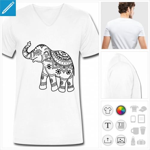 t-shirt éléphant inde à personnaliser, impression unique