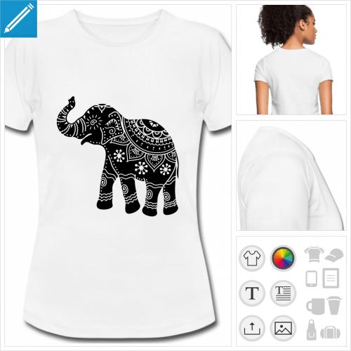 t-shirt manches courtes éléphant inde personnalisable