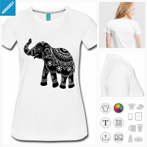 t-shirt orange éléphant indien à créer soi-même