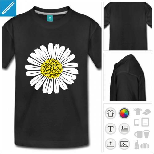 t-shirt simple fleurs à personnaliser, impression unique