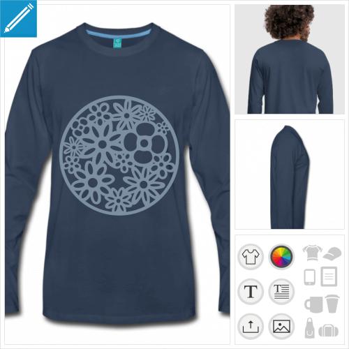 t-shirt manches longues fleur à créer soi-même