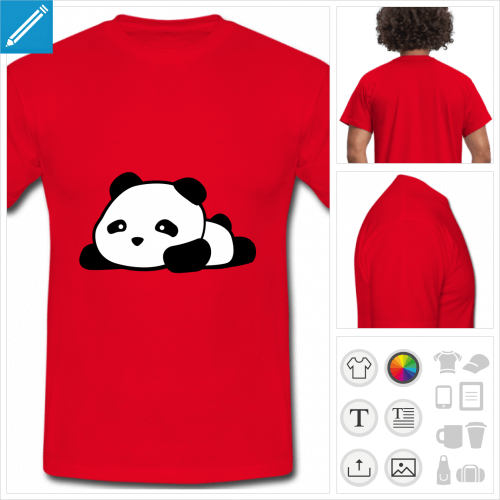 t-shirt homme panda kawaii rigolo à personnaliser