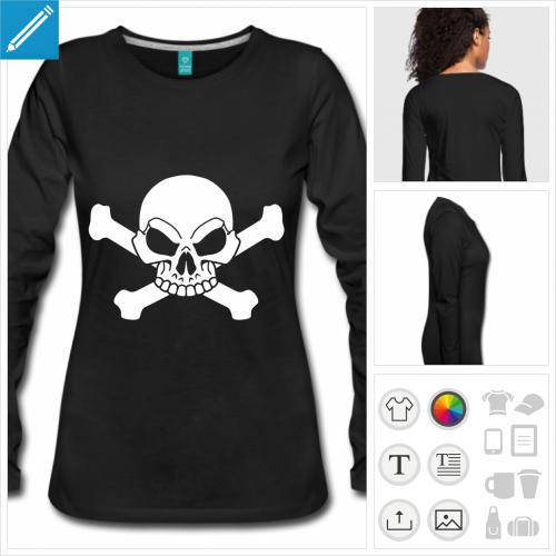 t-shirt noir tête de mort à personnaliser, impression unique