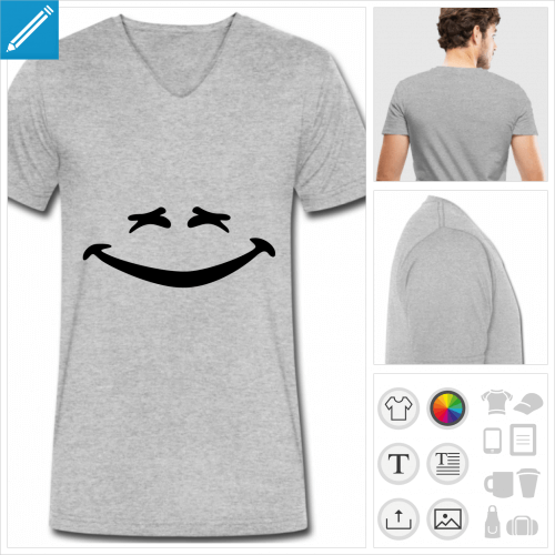 t-shirt smiley rigolo à personnaliser