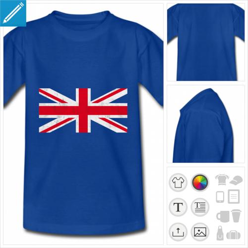 t-shirt drapeau anglais vintage à personnaliser