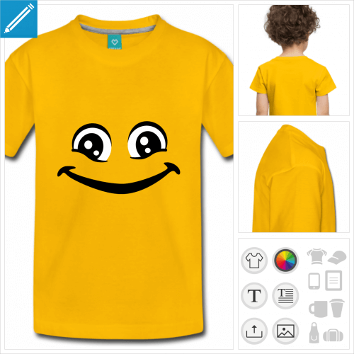 tee-shirt simple smiley yeux personnalisable, impression à l'unité