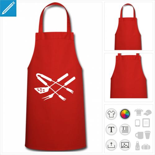 Tablier barbecue fourchettes croisées à personnaliser en ligne.